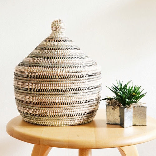 Handcrafted Black, Silver & White Striped Warming Basket from Africa