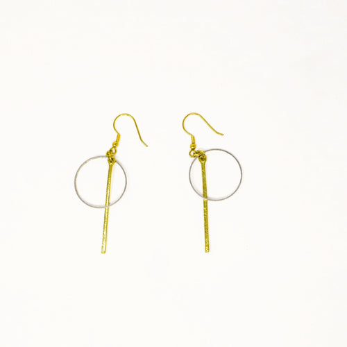 Handmade Geometric Bar Hoop Earrings