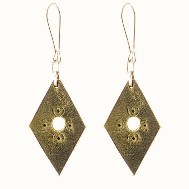 Handmade Small Leather Earring From Guatemala