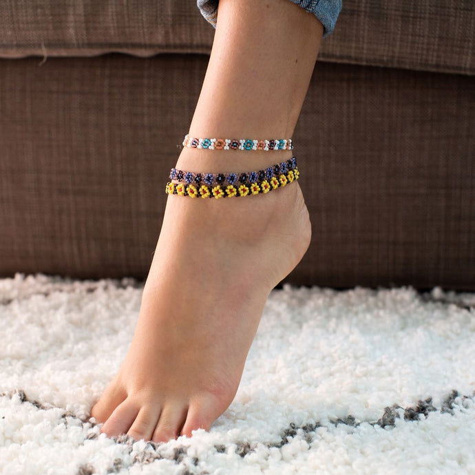 Beaded Daisy Flower Anklets (Set of 3)