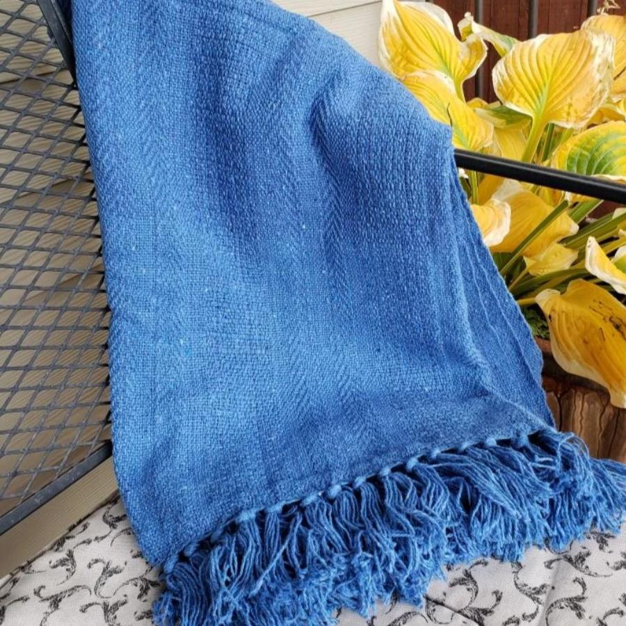 Sustainable Rethread Throw (Comes in Black & White, Red, or Blue) From India