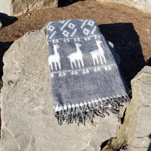 Brushed Alpaca Two Tone Llama Pattern Blanket Throw (Assorted Colors) From Peru