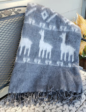 Load image into Gallery viewer, Brushed Alpaca Two Tone Llama Pattern Blanket Throw (Assorted Colors) From Peru