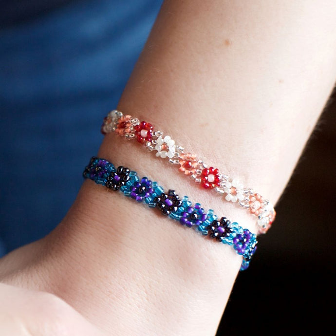Beaded Daisy Flower Bracelets (Set of 3)