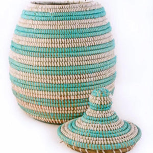 Handcrafted Lidded Gourd Basket (Assorted Color) from Africa