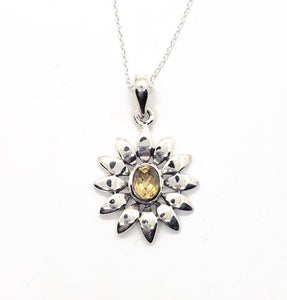"Handcrafted Sterling Silver With Citrine Gem Necklace, ""Sunflower"""