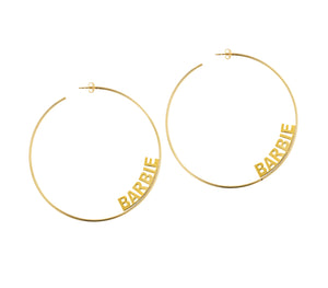 Revolve Nameplate Hoop Earrings
