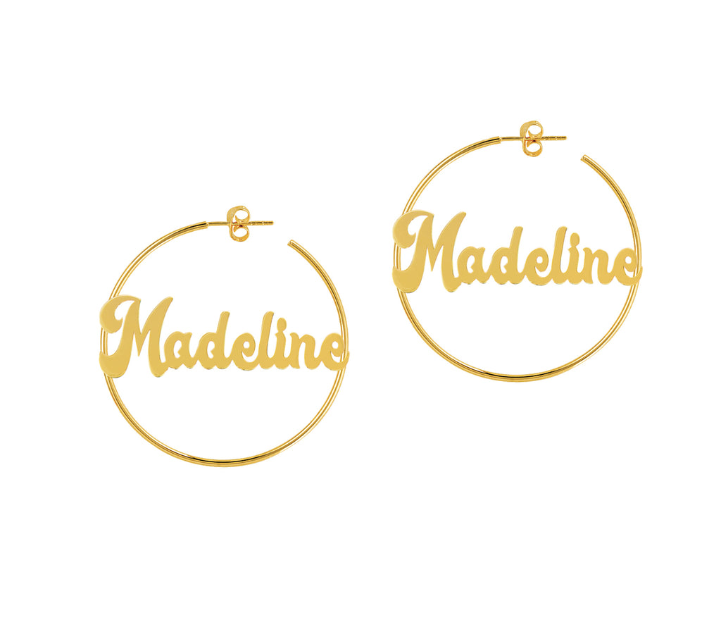 Nameplate Hoop Earrings