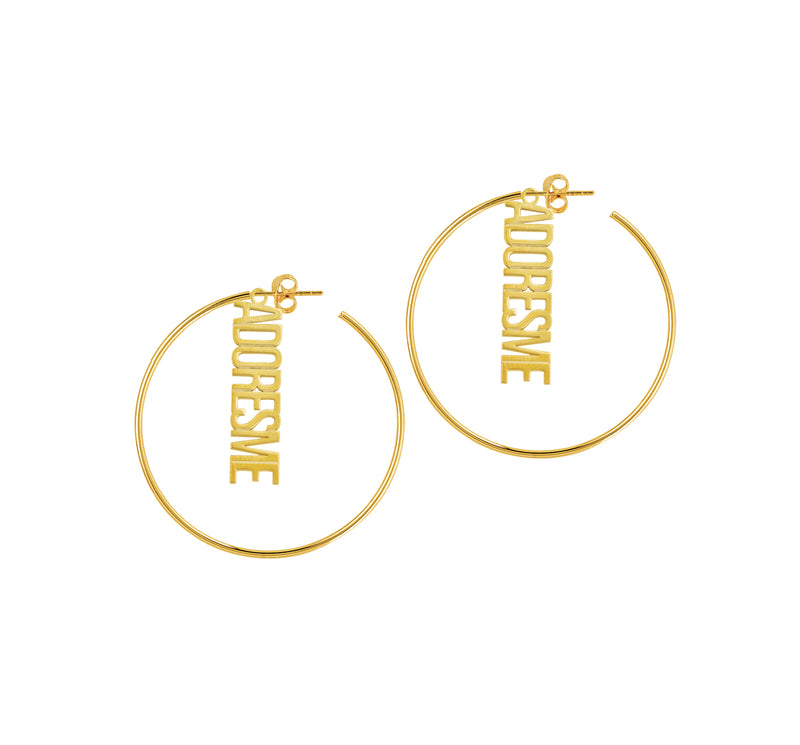 Vertical Nameplate Hoop Earrings