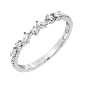 Baguette & Round Diamond Criss-Cross Band