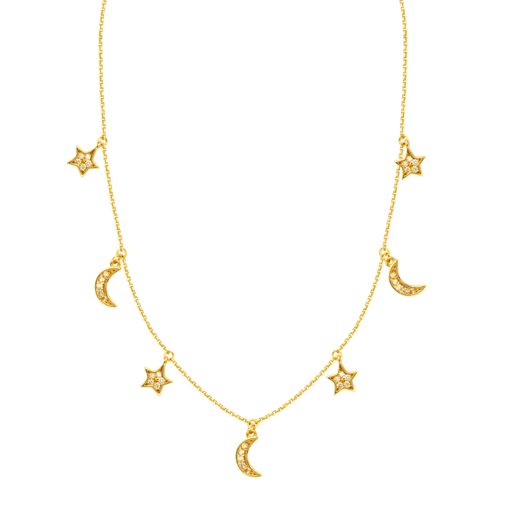Diamond Star & Half-moon Adjustable Necklace