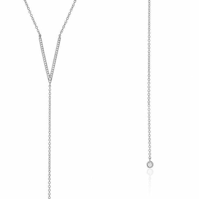 Diamond V and Bezel Lariat Necklace