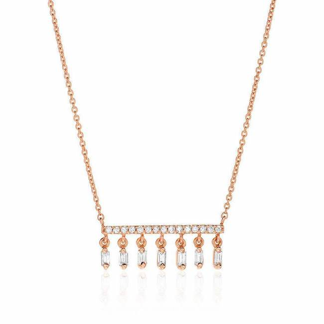Heirloom Baguette Diamond Fringe Necklace