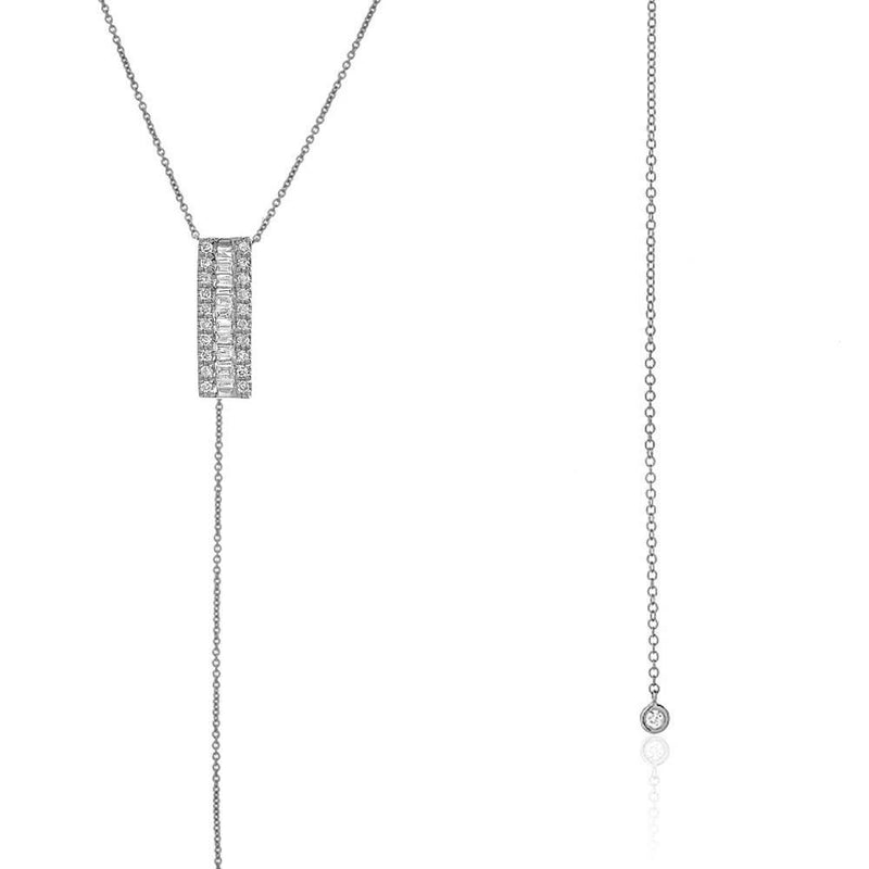 Heirloom Bar and Bezel Lariat Necklace