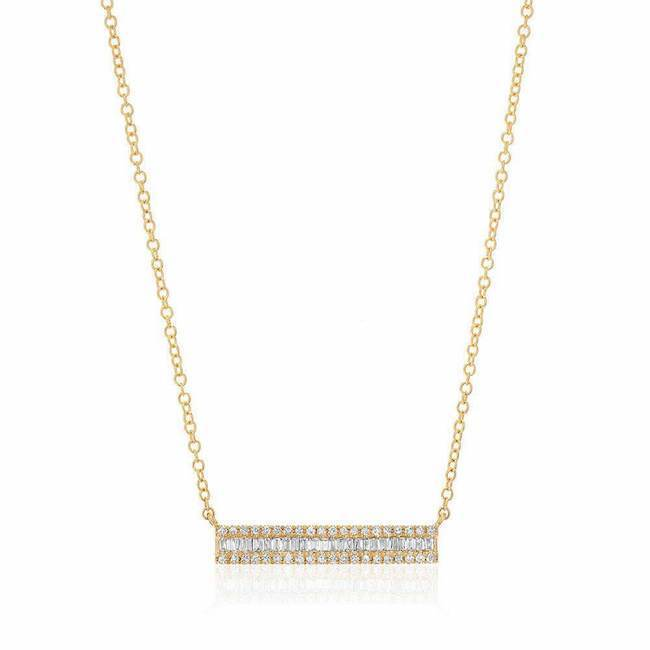 Heirloom Baguette Diamond Bar Necklace