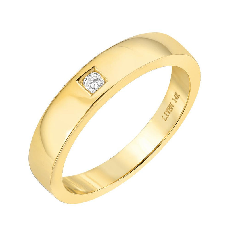 High Polish Wide Band with Single Diamond