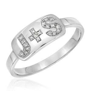 Personalized Diamond Initial Plaque Ring