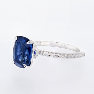Blue Sapphire Cushion Shape Engagement Ring