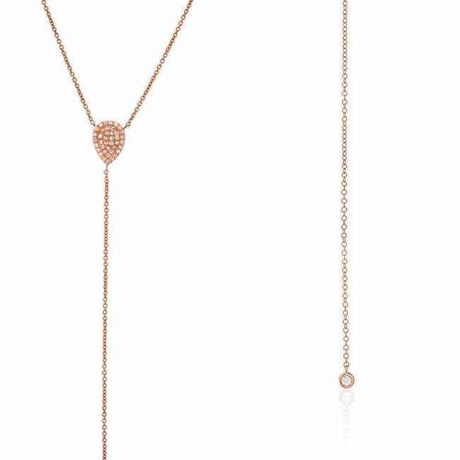 Pear and Bezel Lariat Necklace