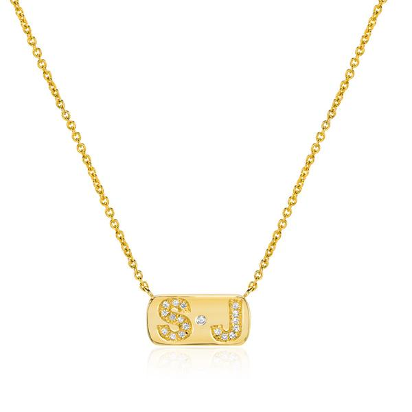 Diamond Initial Necklace with Dot