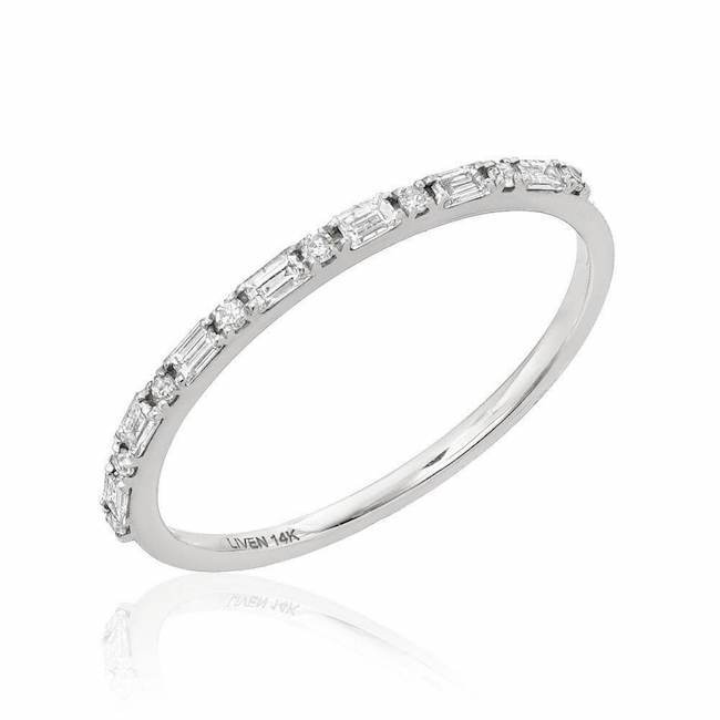 Petite Baguette & Round Diamond Band