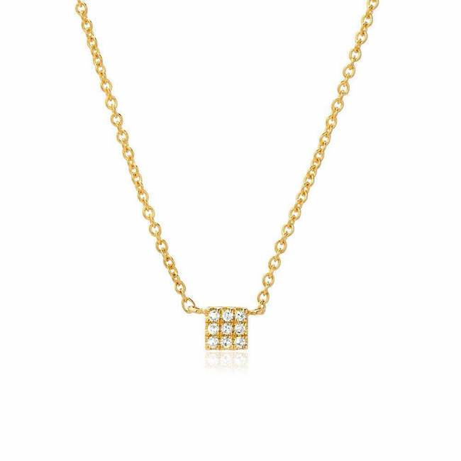 Petite Square Pave Necklace