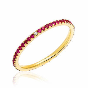 Ruby Eternity Band with Compass Point Diamonds