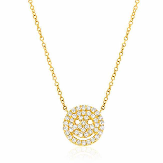 Smiley Face Pave Necklace