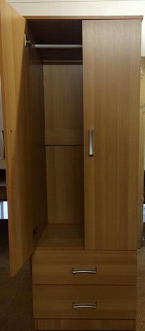 Minimalist Melamine Wardrobe with 2 Drawers