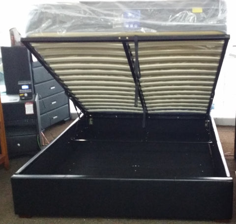 Black PU Queen Gas Lift Bed