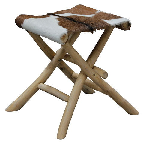 Aztec Hunter Goat Skin Folding Stool