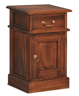 Solid Door 1 Drawer Bedside - BS 101 PN
