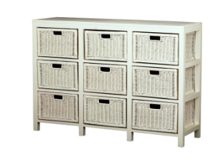 Rattan White 9 Drawer Buffet