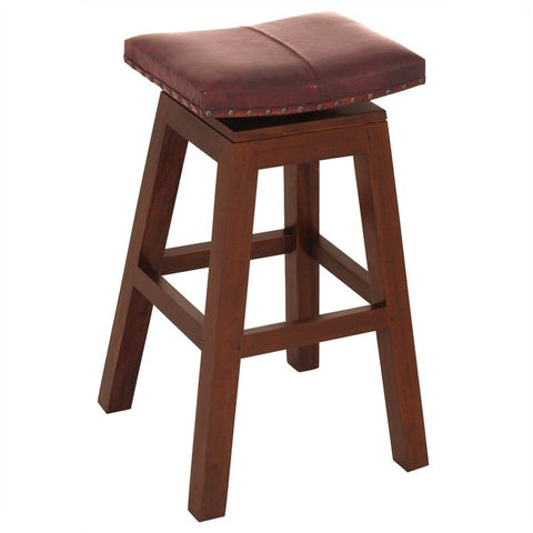 Industrial Roman Leather Swivel Bar Stool