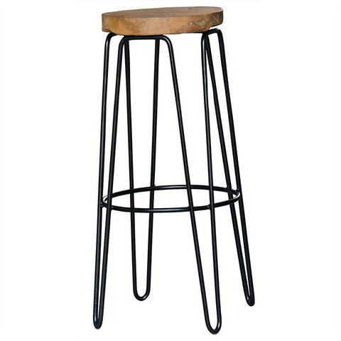 Industrial Rustic Teak Round Bar Stool Large