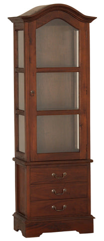 Napoleon Glass Dome Display Cabinet with 3 Drawers