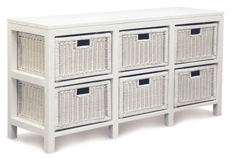 White 6 Drawer Rattan Buffet - SB 006 RT WH