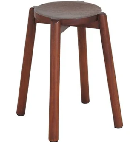 Scandinavian Round Mahogany Milking Stool (Set of 2)