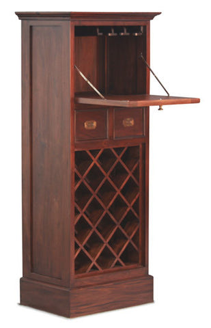 Wine Rack with Glass Hanging with 1 Door and 2 Drawers