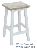 Annecy Kitchen Stool - White Base with White Top