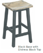 Annecy Kitchen Stool - Black Base with Distress Black Top