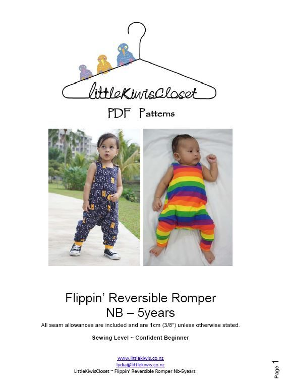 Flippin Reversible Romper-NB -5Yrs - Little Kiwis Closet