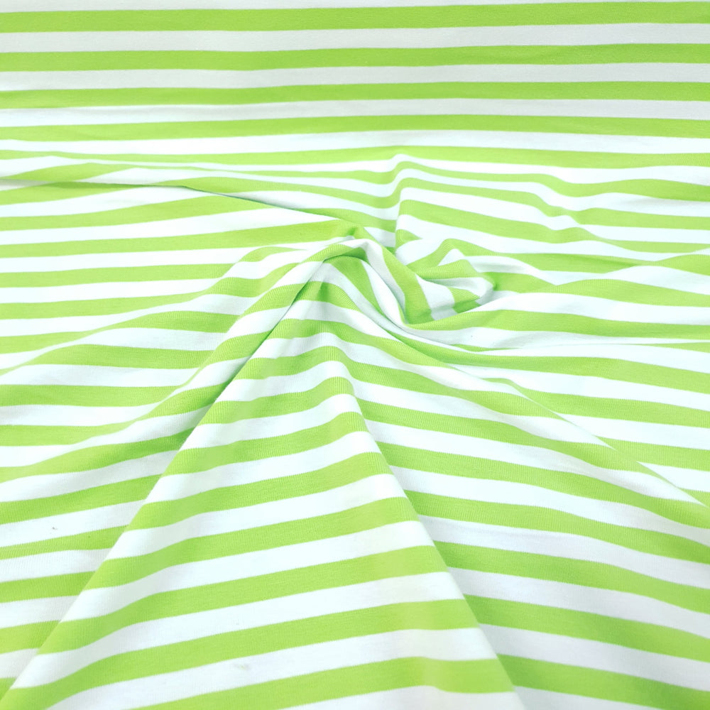 Load image into Gallery viewer, Lime & White Stripes 1cm - Cotton Spandex - Yarn Dyed