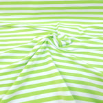 Lime & White Stripes 1cm - Cotton Spandex - Yarn Dyed