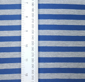 Grey marl & Denim Stripes 1cm - Cotton Spandex - Yarn Dyed