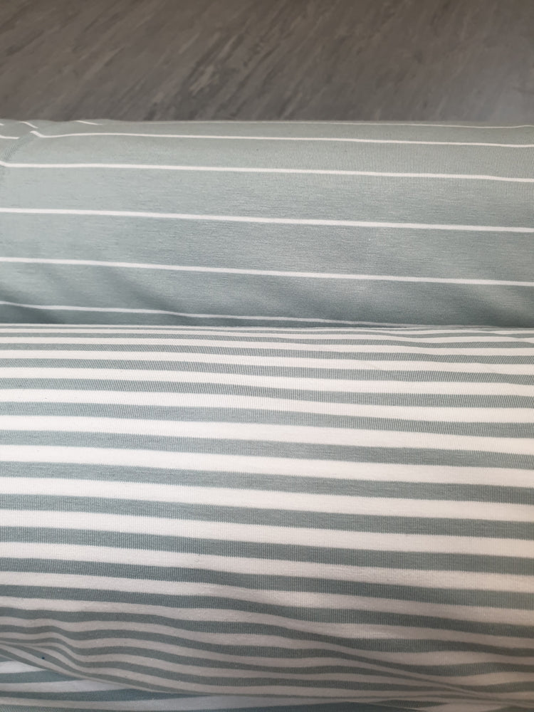Load image into Gallery viewer, Sage Green & white stripe - Cotton Spandex - Yarn Dyed-4mm