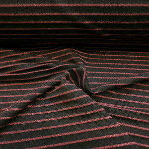 Charcoal Melange with pink lurex stripe - Cotton Spandex - Yarn Dyed