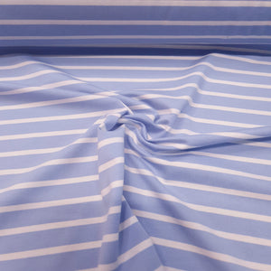 Load image into Gallery viewer, Baby Blue /White stripe - Cotton Spandex - Yarn Dyed