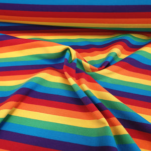 Bright Rainbow Stripes - Cotton Spandex - Yarn Dyed-200g