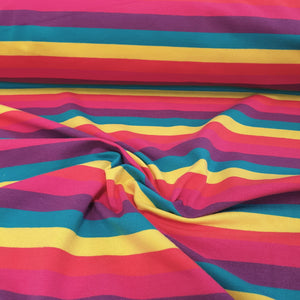 Pink Rainbow Stripes - Cotton Spandex - Yarn Dyed-200g